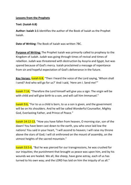 Lessons from the Prophets Text: (Isaiah 6:8) Author: Isaiah