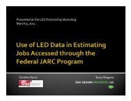 Use of LED Data in Estimating Jobs Accessed through the Federal ...