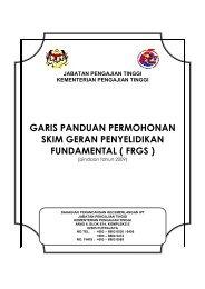 Garis Panduan FRGS - Jabatan Pengajian Tinggi - Kementerian ...