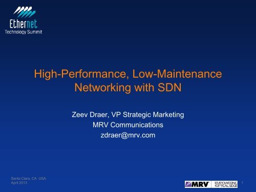 High-Performance, Low-Maintenance Networking with SDN