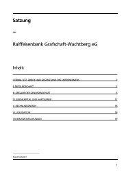 Satzung Raiffeisenbank Grafschaft-Wachtberg eG