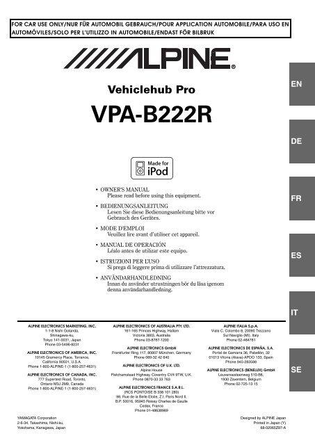 En Vehiclehub Pro Vpa B222r Alpine