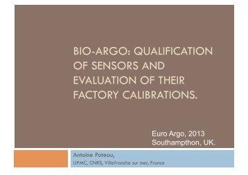 BIO-ARGO: QUALIFICATION OF SENSORS AND ... - Euro-Argo