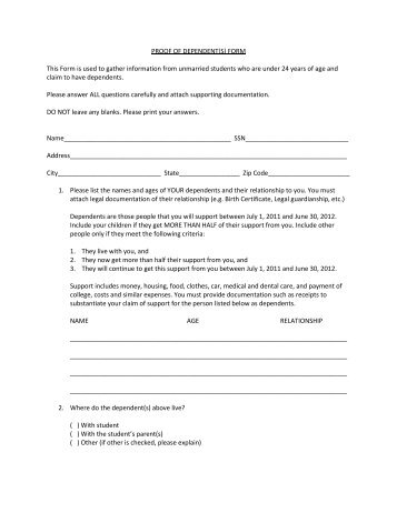 PROOF OF DEPENDENT(S) FORM This Form is used to gather ...