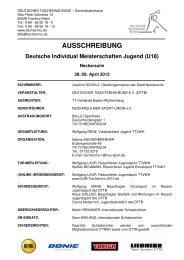 AUSSCHREIBUNG - Deutscher Tischtennisbund DTTB