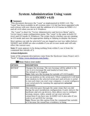 System Administration Using vasm (SOHO v4.0) - From: ibiblio.org