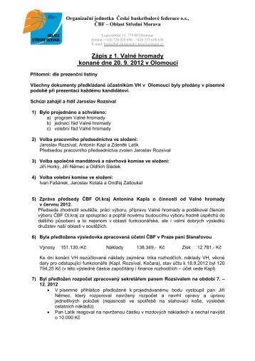 20. 9. 2012 Zápis z Valné hromady - ČBF