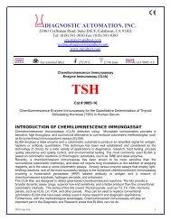 DIAGNOSTIC AUTOMATION, INC. - ELISA kits - Rapid tests