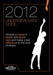 undergraduate guide - Faculty of Health and Life Sciences - Oxford ...