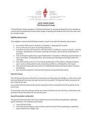 Geoff Gowan Award - Coaching Association of Canada