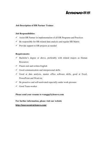 job description of hr partner trainee job responsibilities assist hr consultant job description