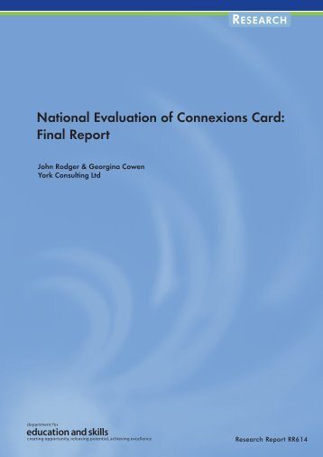 National Evaluation of Connexions Card - Digital Education ...