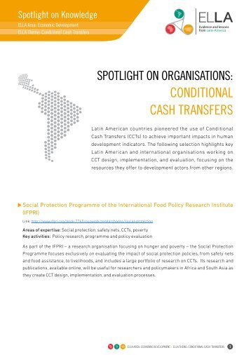 conDitionAL cASH trAnSFErS - DfID