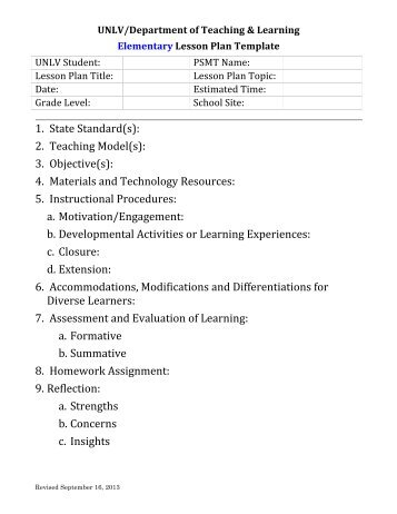 How To Use The Lesson Plan Template  New Mexico Department Of