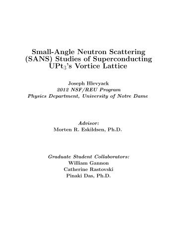 Small-Angle Neutron Scattering (SANS) - Physics Department ...