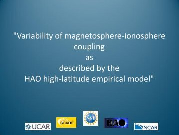 Variability of magnetosphere-ionosphere coupling as described by ...