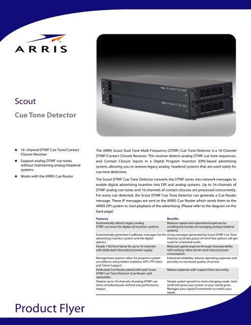 Scout Cue Tone Detector Product Flyer - Arris