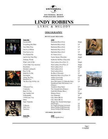 LINDY ROBBINS - Universal Music Publishing Group