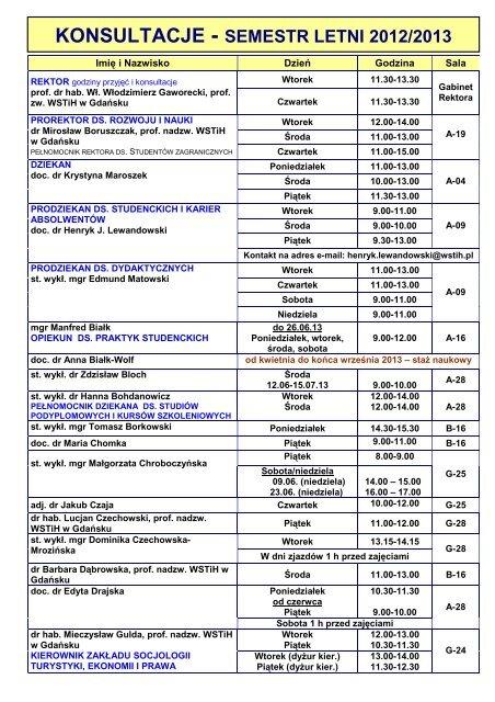 KONSULTACJE - SEMESTR LETNI 2012/2013