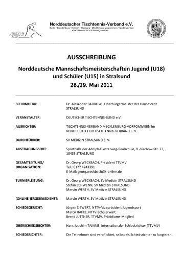 (U18) und Schüler (U15) in Stralsund - Deutscher Tischtennisbund ...