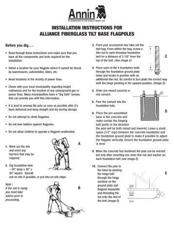 installation instructions for alliance fiberglass tilt base flagpoles