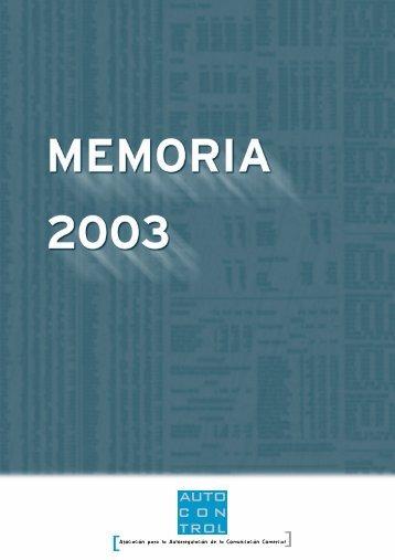 MEMORIA AUTOCONTROL 2003