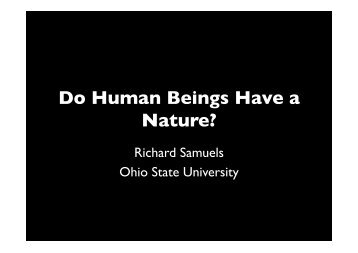 Do Human Beings Have a Nature? - Representing Genes