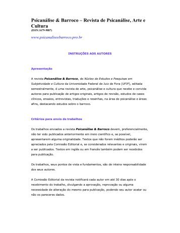 Psicanálise & Barroco – Revista de Psicanálise, Arte e Cultura