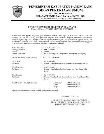 DINAS PEKERJAAN UMUM - Pemerintah Kabupaten Pandeglang