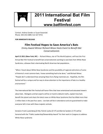 2011International Bat Film Festival www.batfilmfest ... - Year of the Bat