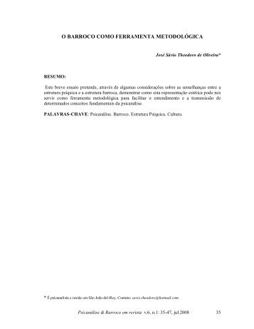 o barroco como ferramenta metodológica - Psicanálise & Barroco