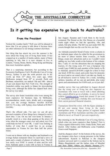 September 2011 - OzCon THE AUSTRALIAN CONNECTION