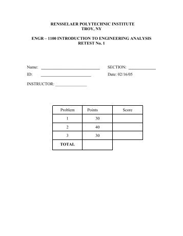 1100 INTRODUCTION TO ENGINEERING ANALYSIS RETEST No ...