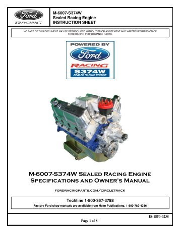 Installation Instructions for Ford Racing M-6007-S374W