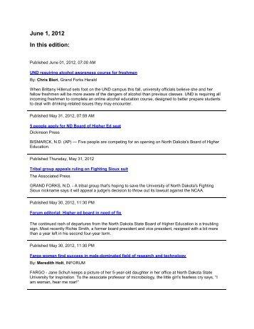 Media Coverage Summary 06-01-2012 - North Dakota University ...