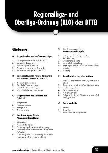 und Oberliga-Ordnung (RLO) - Deutscher Tischtennisbund DTTB