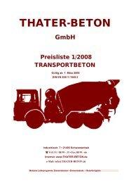 Preisliste 1/2008 TRANSPORTBETON - Thater Beton