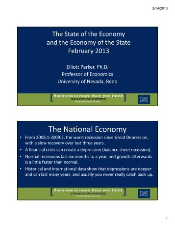 Parker State of Economy Feb 2013 - College of Business ...