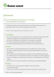 Stellenmarkt Leiter Ständige Betonprüfstelle (m/w) - Thomas Gruppe