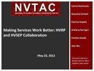 Making Services Work Better: HVRP and HVSEP Collaboration