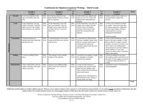 Continuum For Opinion Argument Writing Third Grade S Tru