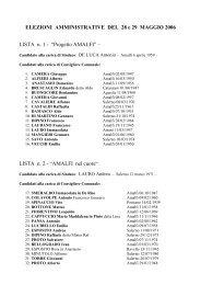 ELEZIONI AMMINISTRATIVE DEL 28 e 29 ... - Comune di Amalfi
