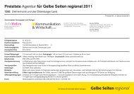 Preisliste Agentur für Gelbe Seiten regional 2011
