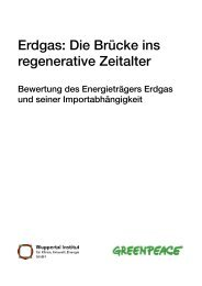 Erdgas: Die Brücke ins regenerative Zeitalter - Greenpeace