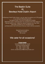 The Baskin Suite At Bewleys Hotel Dublin Airport ... - Bewley's Hotels