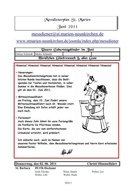 Messdienerplan Juni 2011 - Kath. Kirchengemeinde St. Marien ...