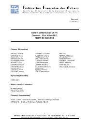 Relevé de décisions du Comité Directeur des 15 & 16 juin