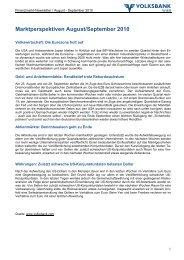 Marktperspektiven August/September 2010 - Volksbank Wien AG