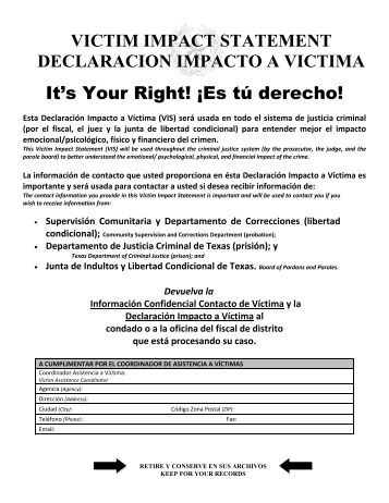 Victim Impact Statement, Spanish - Texas Department of Criminal ...