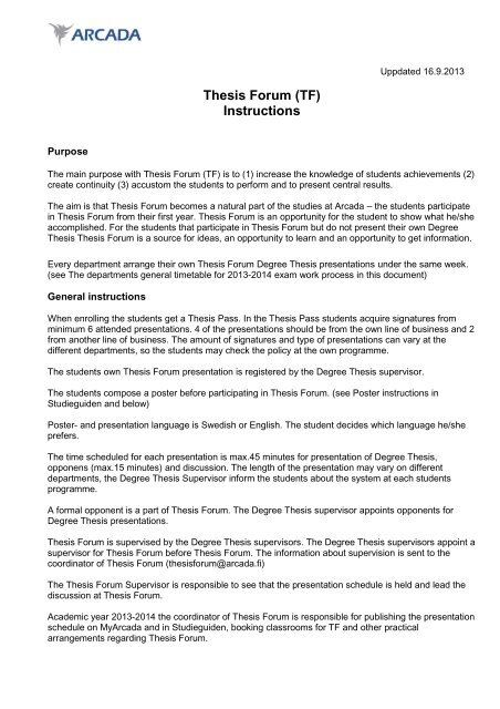 thesis forum arcada